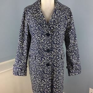Talbots 14 P Navy Blue White Floral Jacket Long